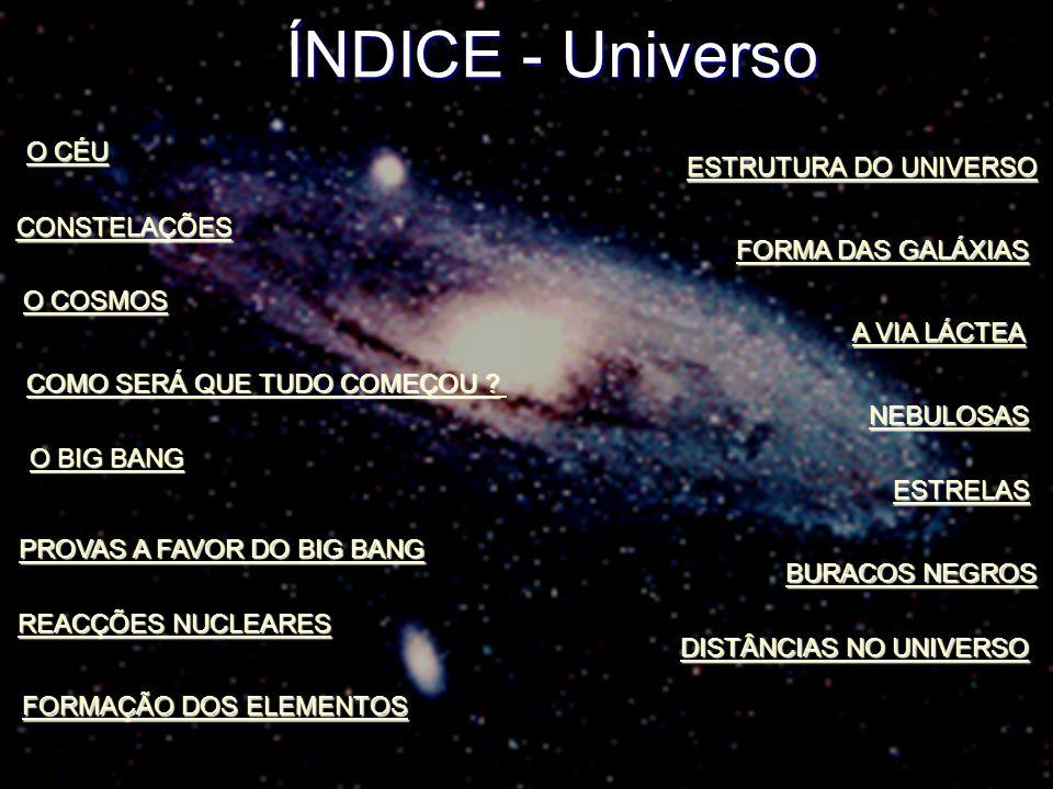ÍNDICE - Universo O CÉU ESTRUTURA DO UNIVERSO CONSTELAÇÕES