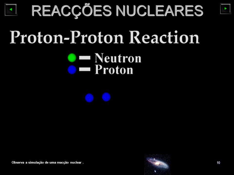 Observa a simulação de uma reacção nuclear .