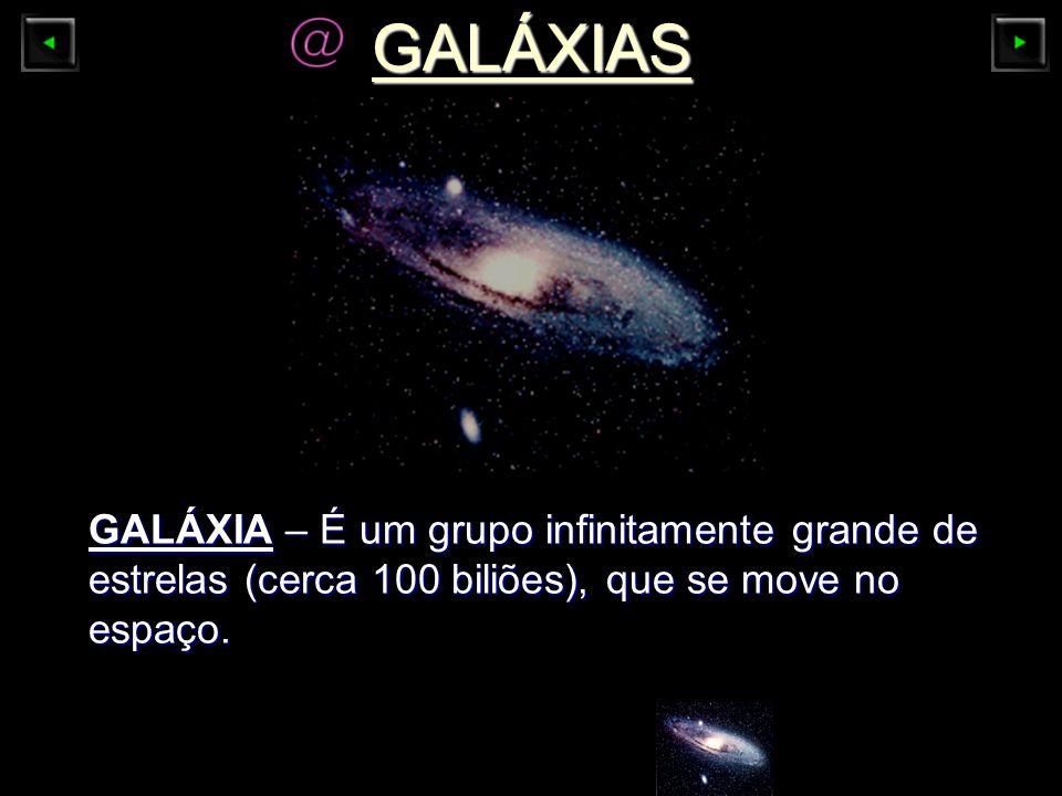 GALÁXIAS GALÁXIA – É um grupo infinitamente grande de estrelas (cerca 100 biliões), que se move no espaço.