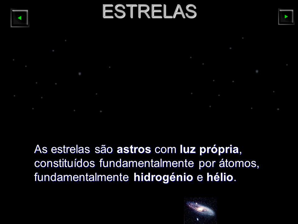 ESTRELAS As estrelas são astros com luz própria, constituídos fundamentalmente por átomos, fundamentalmente hidrogénio e hélio.