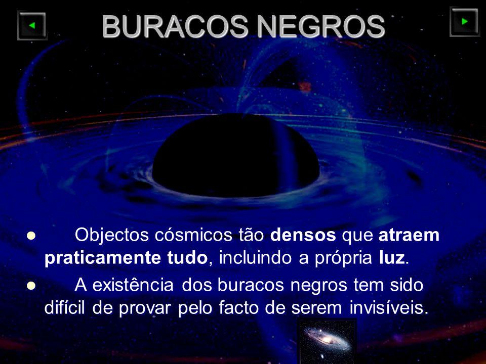 BURACOS NEGROS Objectos cósmicos tão densos que atraem praticamente tudo, incluindo a própria luz.