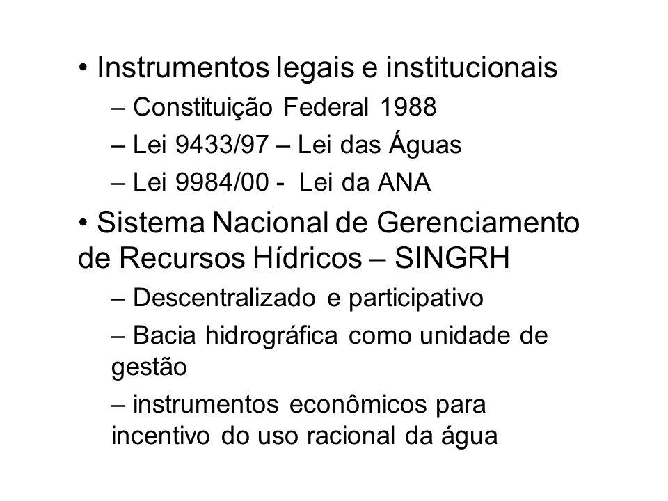 Instrumentos legais e institucionais