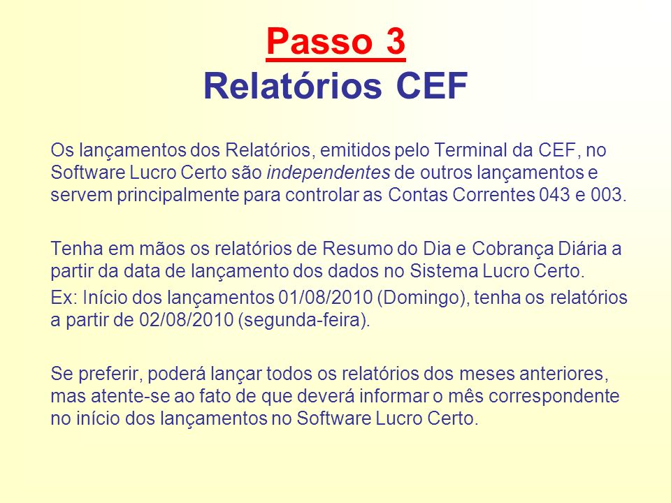 Passo 3 Relatórios CEF