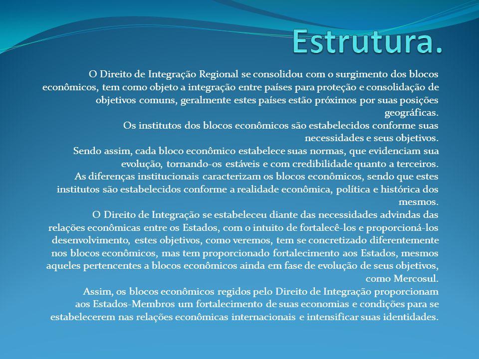 Estrutura. O Direito de Integração Regional se consolidou com o surgimento dos blocos.