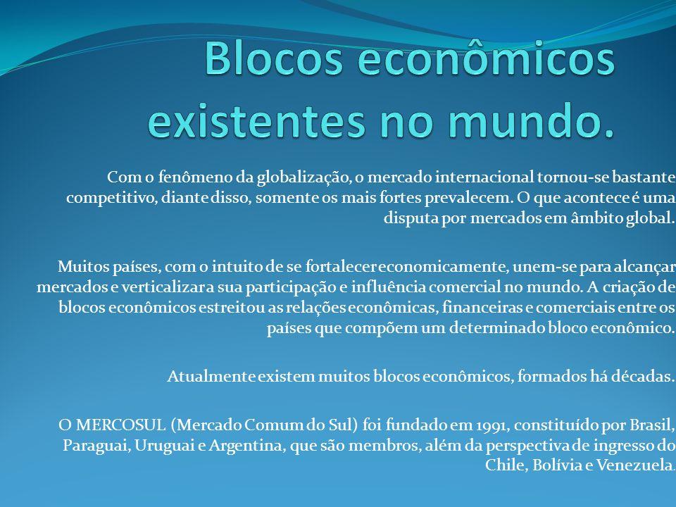 Blocos econômicos existentes no mundo.