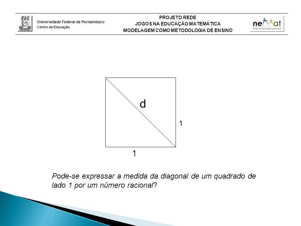 d 1 Pode-se expressar a medida da diagonal de um quadrado de lado 1 por um número racional