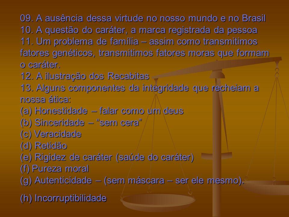 09. A ausência dessa virtude no nosso mundo e no Brasil 10