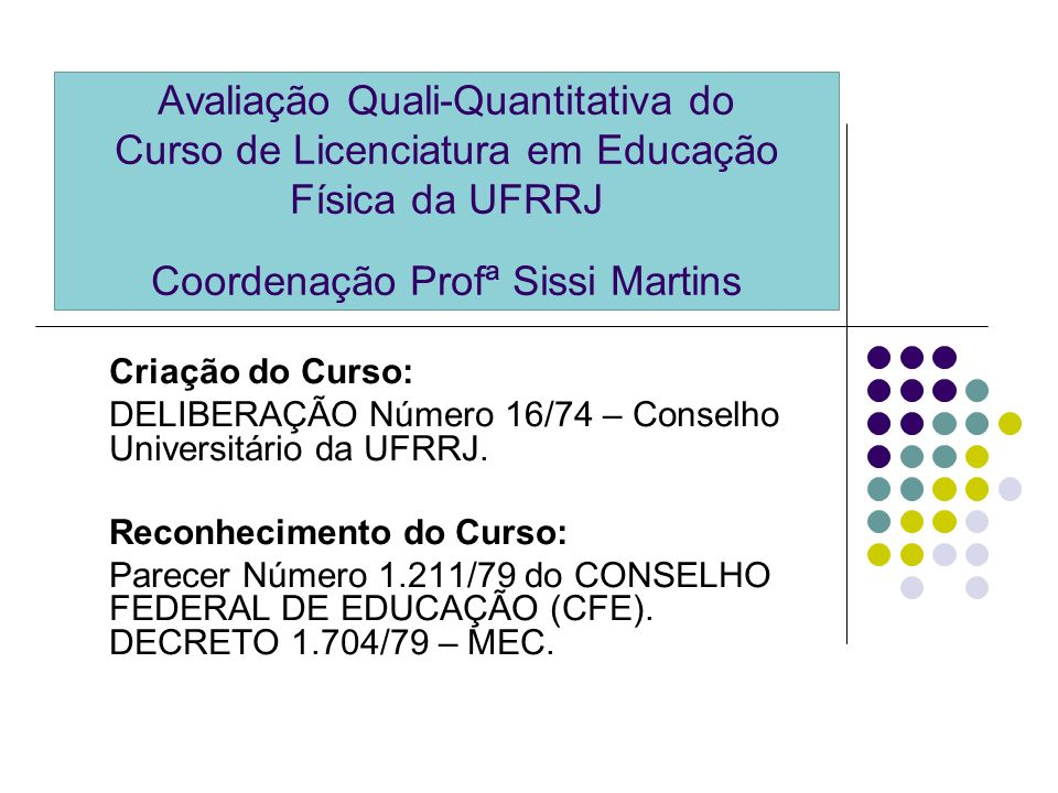 Avaliação Quali-Quantitativa do Curso de Licenciatura em Educação Física da UFRRJ Coordenação Profª Sissi Martins