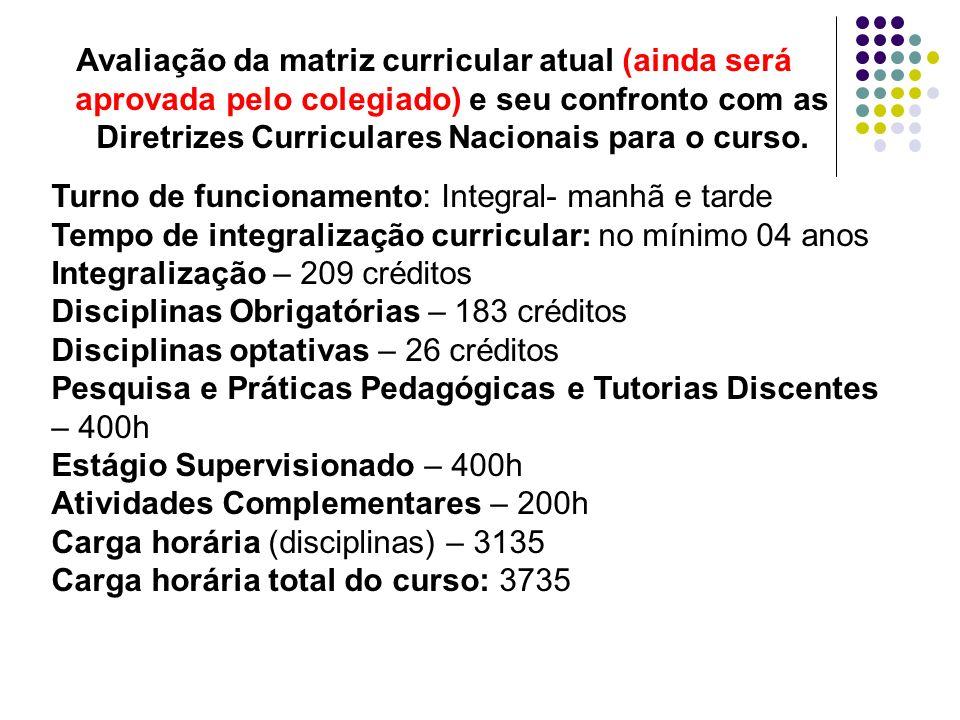 Avaliação da matriz curricular atual (ainda será aprovada pelo colegiado) e seu confronto com as Diretrizes Curriculares Nacionais para o curso.