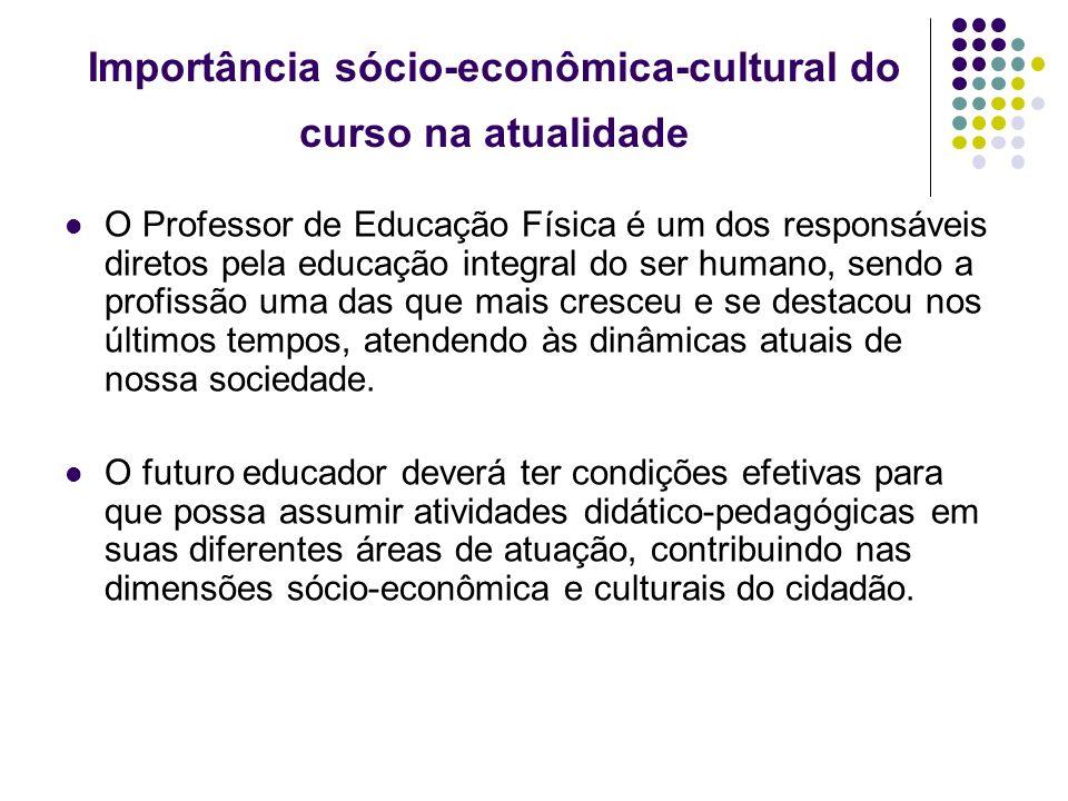 Importância sócio-econômica-cultural do curso na atualidade