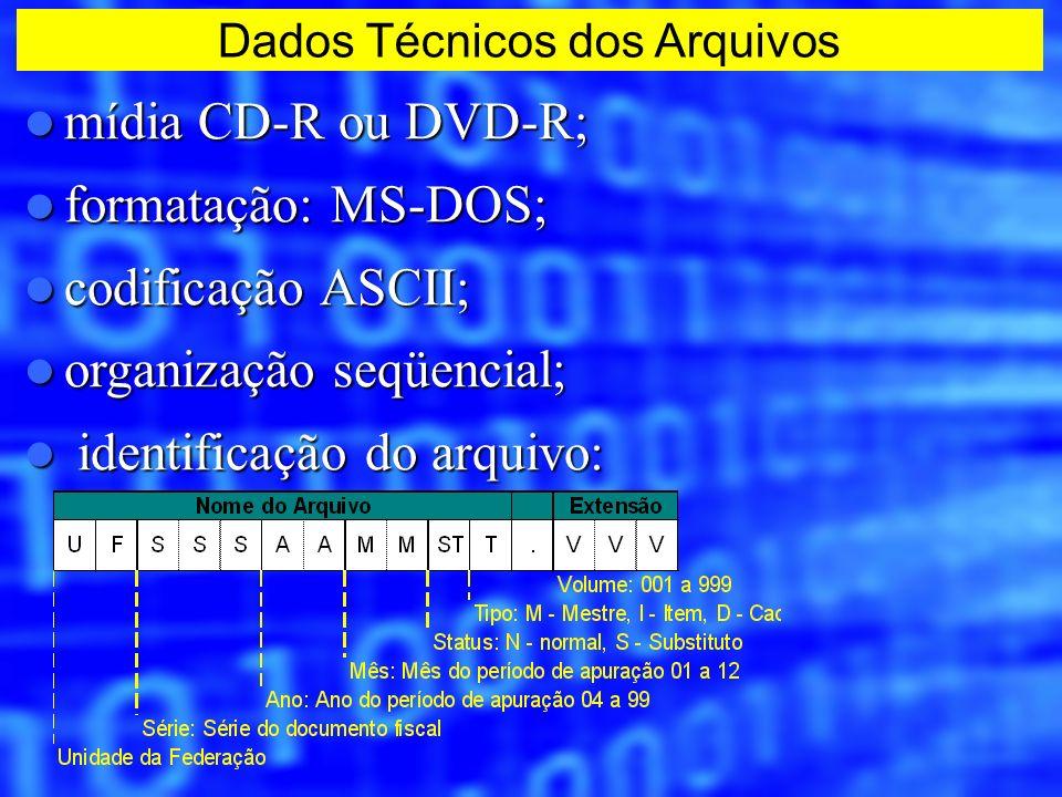 Dados Técnicos dos Arquivos