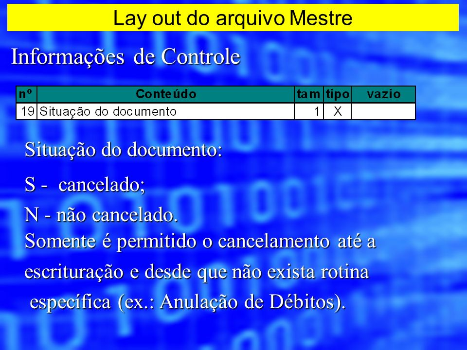 Lay out do arquivo Mestre