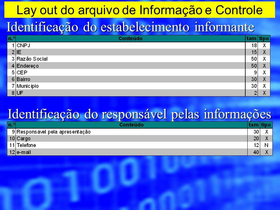 Lay out do arquivo de Informação e Controle