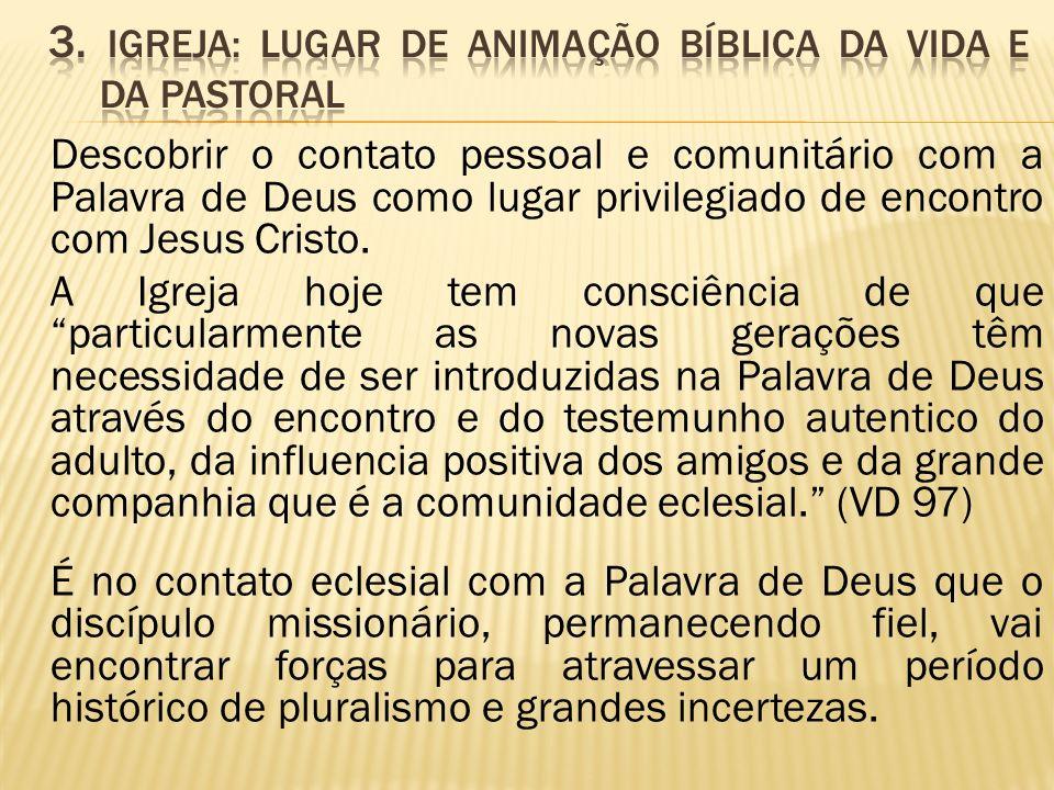 3. Igreja: lugar de animação bíblica da vida e da pastoral