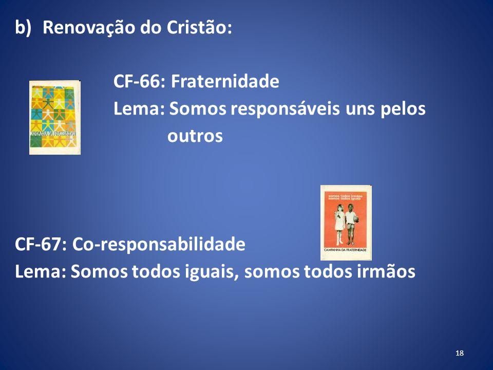 Renovação do Cristão: CF-66: Fraternidade. Lema: Somos responsáveis uns pelos. outros. CF-67: Co-responsabilidade.