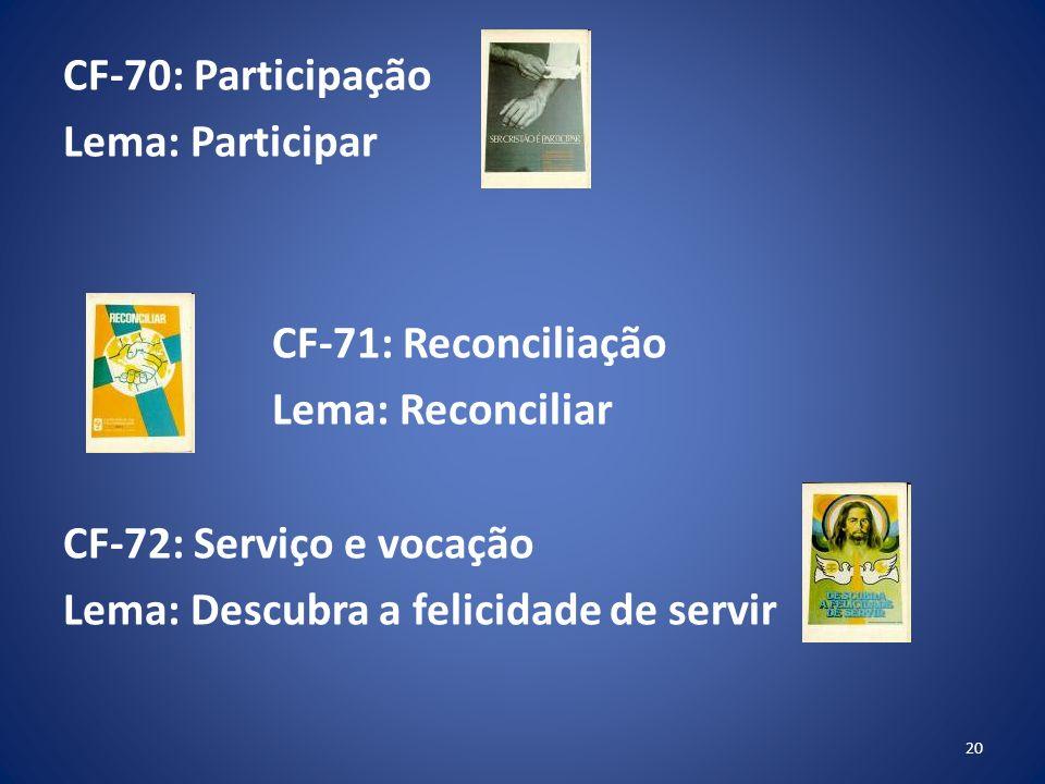 CF-70: Participação Lema: Participar CF-71: Reconciliação Lema: Reconciliar CF-72: Serviço e vocação Lema: Descubra a felicidade de servir