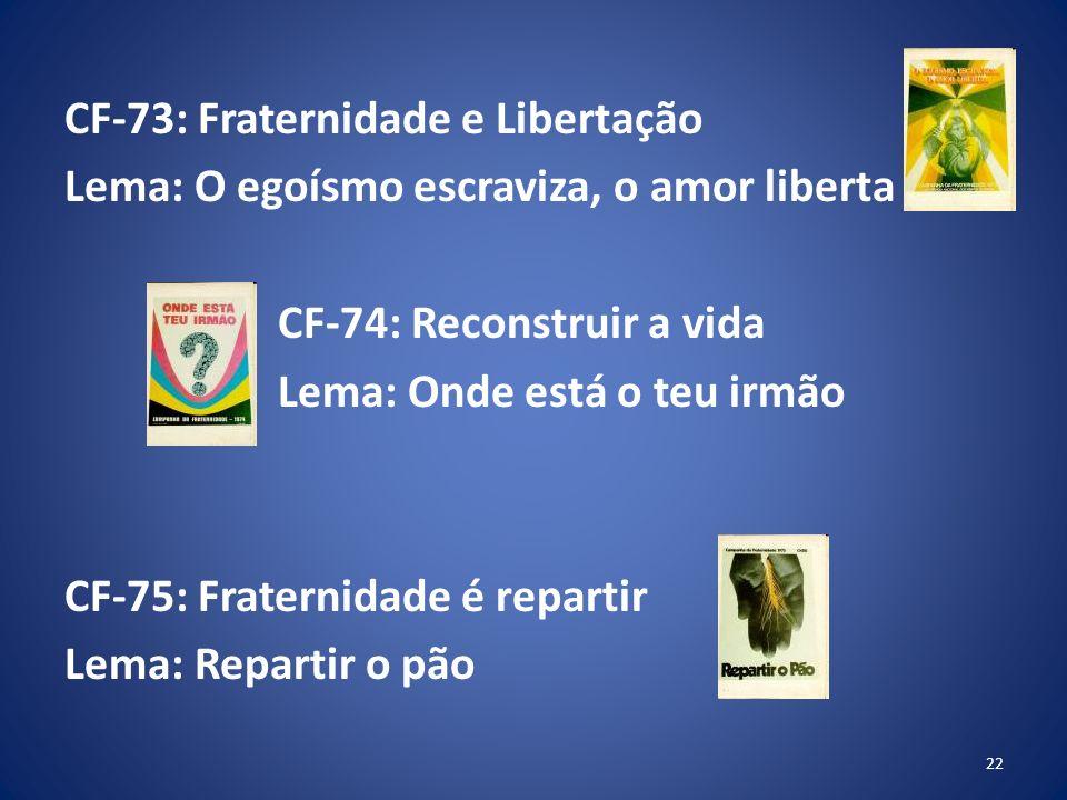 CF-73: Fraternidade e Libertação Lema: O egoísmo escraviza, o amor liberta CF-74: Reconstruir a vida Lema: Onde está o teu irmão CF-75: Fraternidade é repartir Lema: Repartir o pão