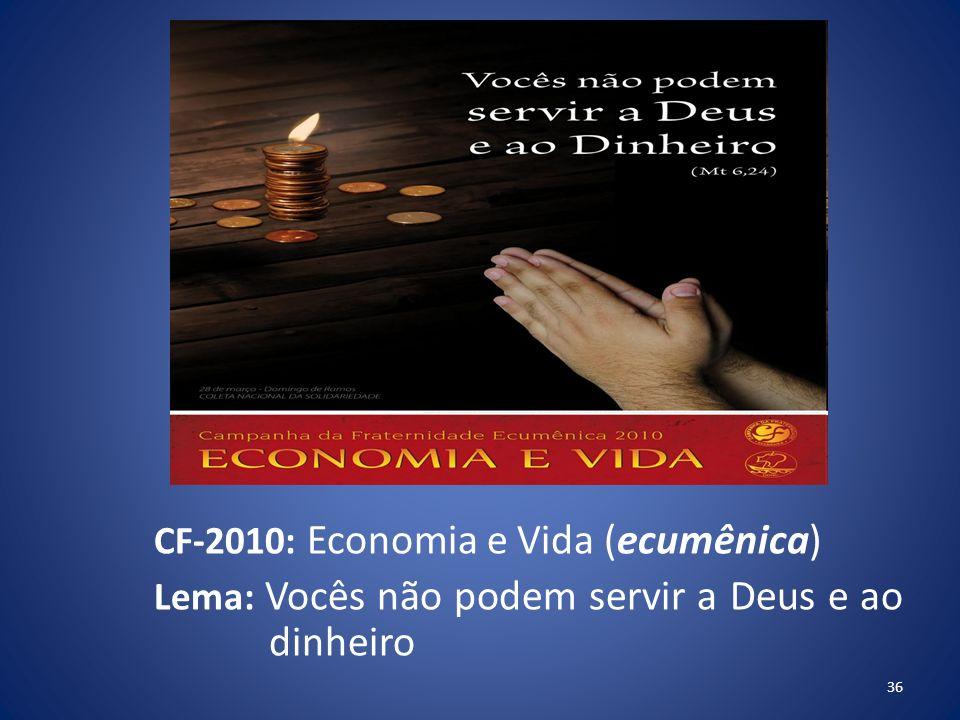 CF-2010: Economia e Vida (ecumênica) Lema: Vocês não podem servir a Deus e ao dinheiro
