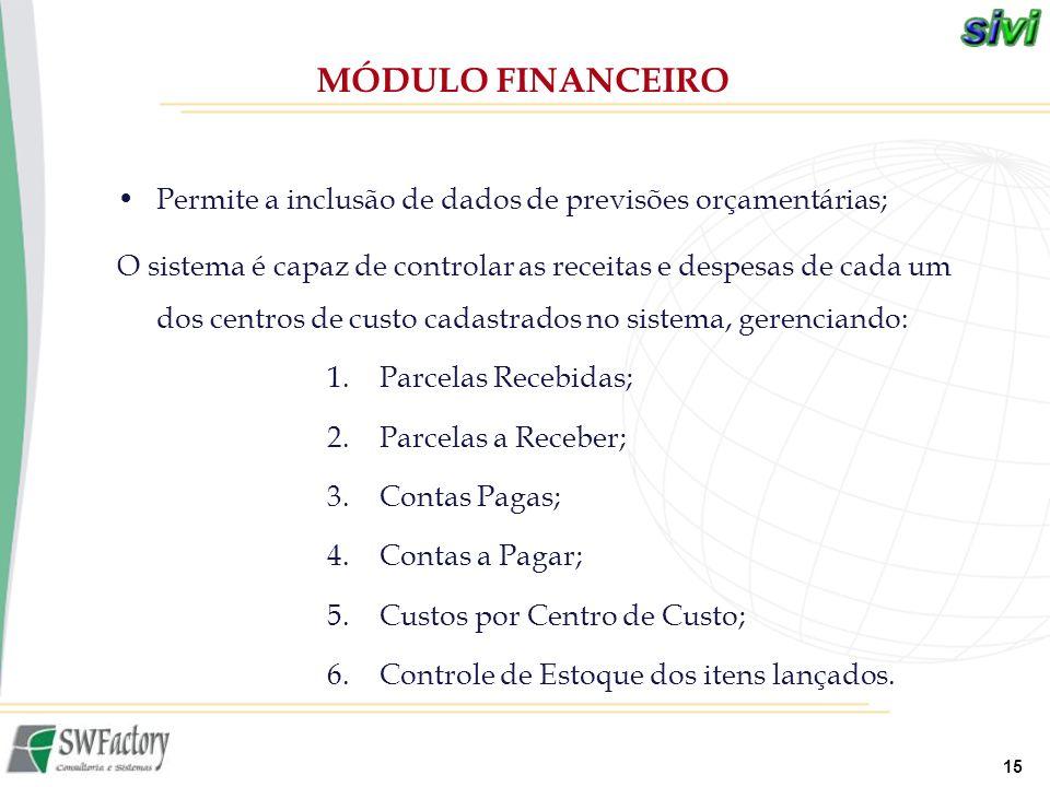 MÓDULO FINANCEIRO Permite a inclusão de dados de previsões orçamentárias;