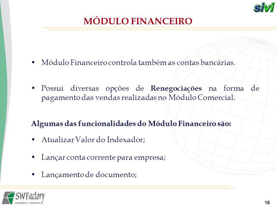 MÓDULO FINANCEIRO Módulo Financeiro controla também as contas bancárias.