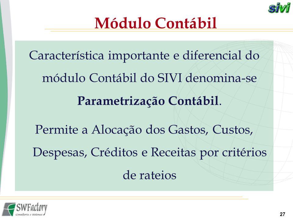 Módulo Contábil Característica importante e diferencial do módulo Contábil do SIVI denomina-se Parametrização Contábil.