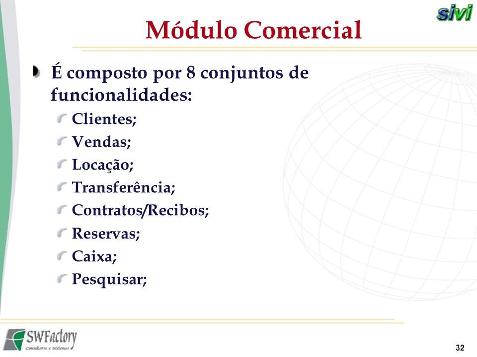 Módulo Comercial É composto por 8 conjuntos de funcionalidades: