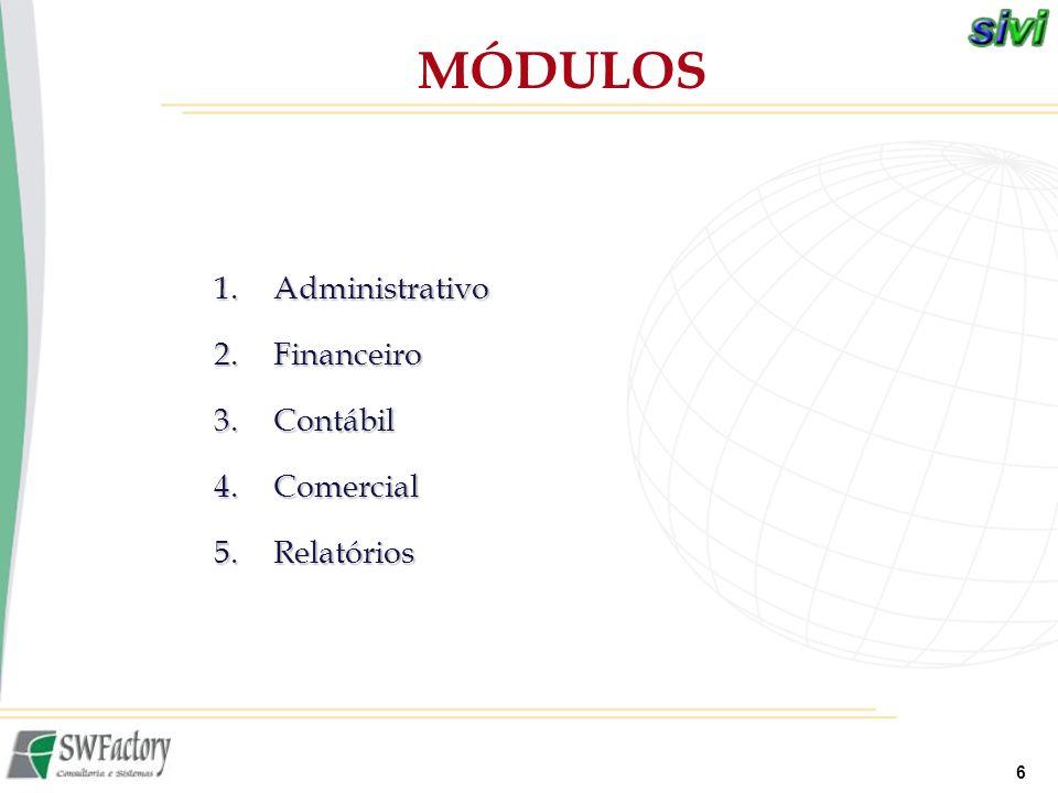 MÓDULOS Administrativo Financeiro Contábil Comercial Relatórios