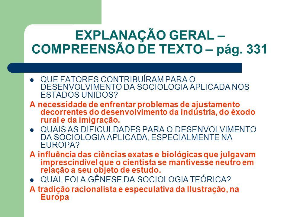 EXPLANAÇÃO GERAL – COMPREENSÃO DE TEXTO – pág. 331