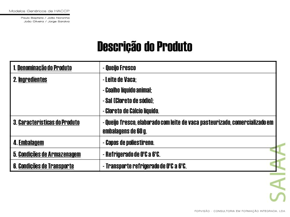 Descrição do Produto 1. Denominação do Produto - Queijo Fresco