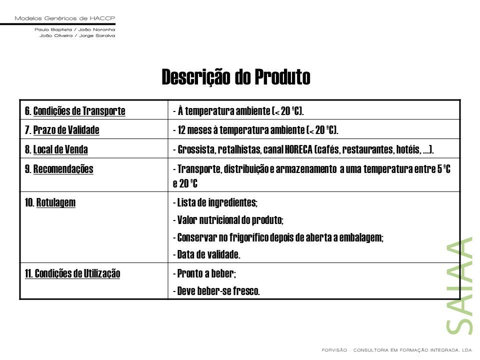 Descrição do Produto 6. Condições de Transporte