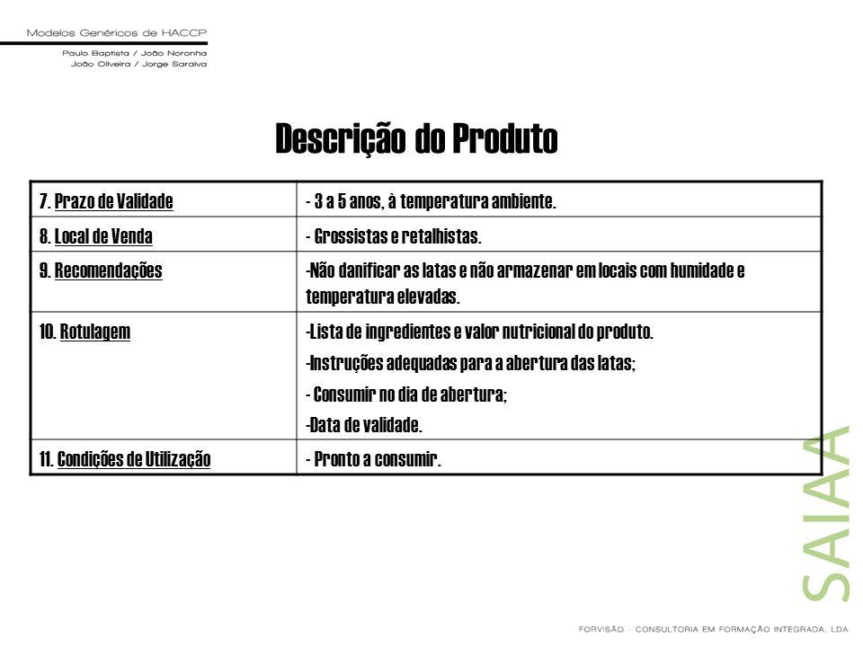 Descrição do Produto 7. Prazo de Validade