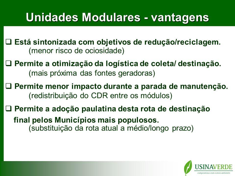 Unidades Modulares - vantagens