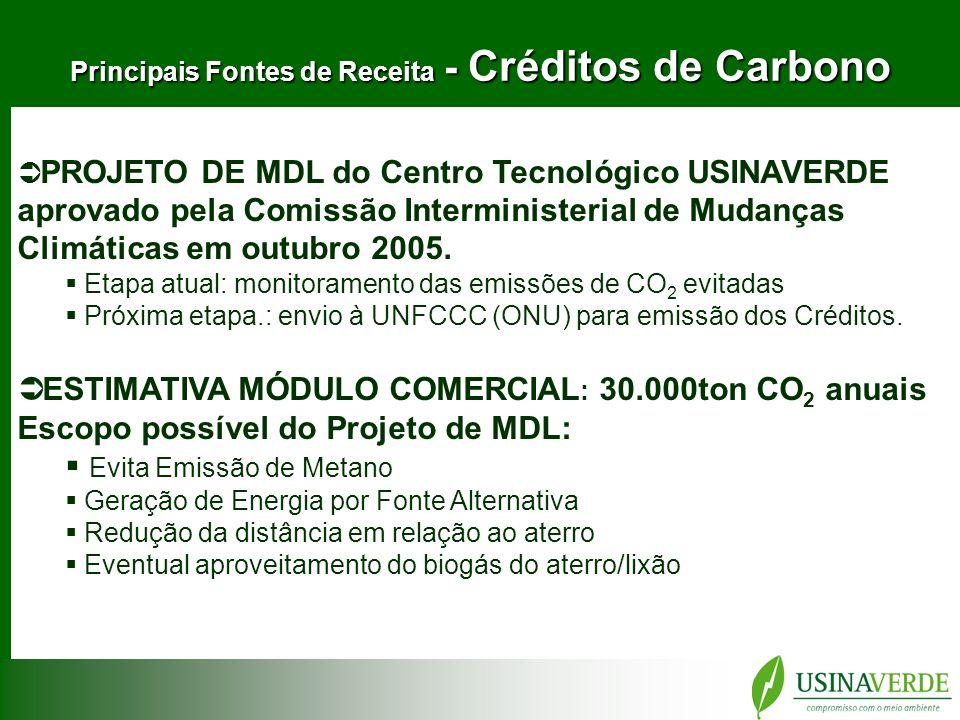 Principais Fontes de Receita - Créditos de Carbono