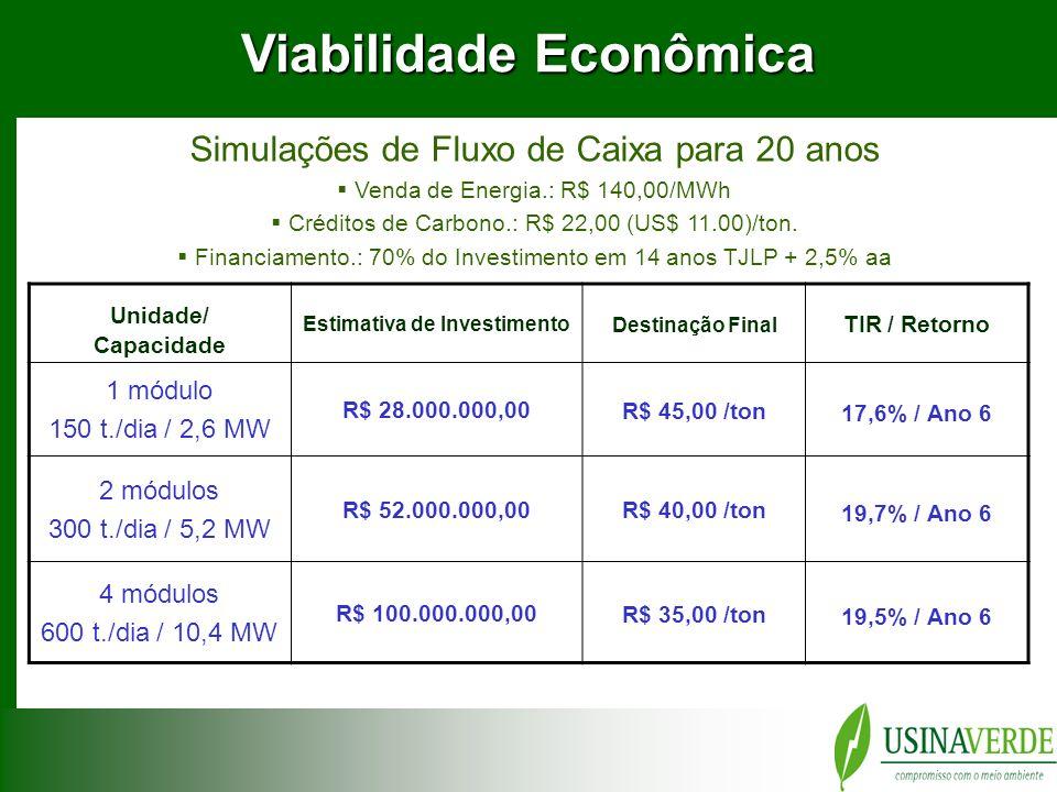 Viabilidade Econômica Estimativa de Investimento