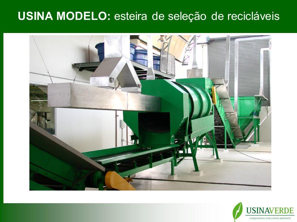 USINA MODELO: esteira de seleção de recicláveis