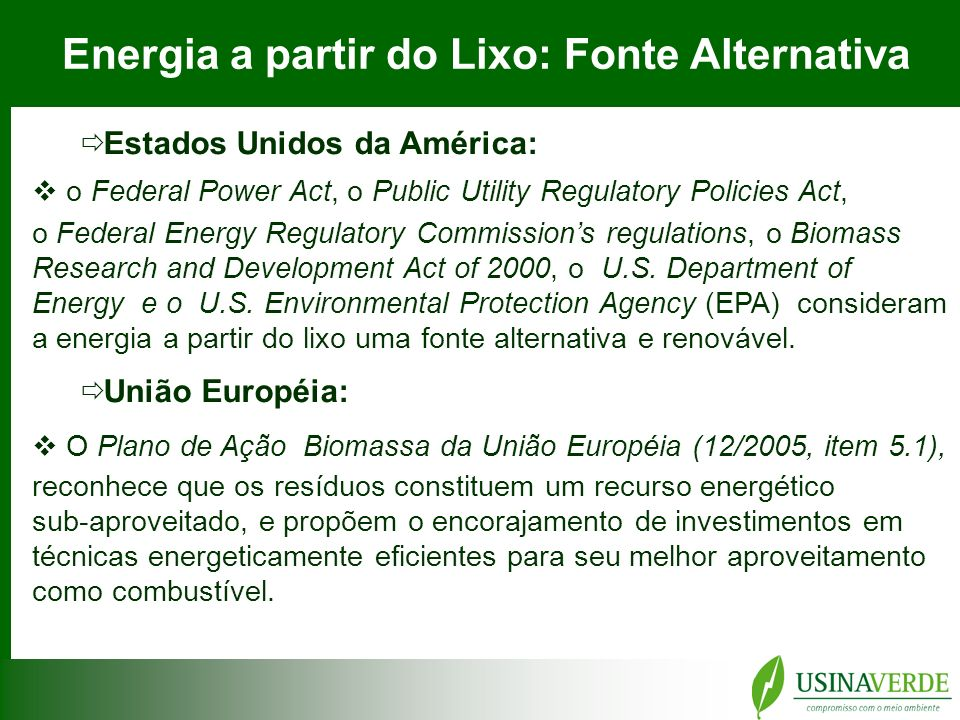Energia a partir do Lixo: Fonte Alternativa