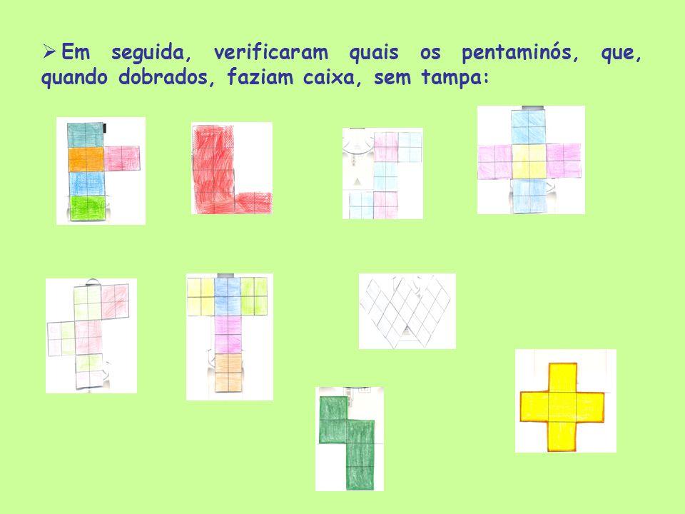 Em seguida, verificaram quais os pentaminós, que, quando dobrados, faziam caixa, sem tampa: