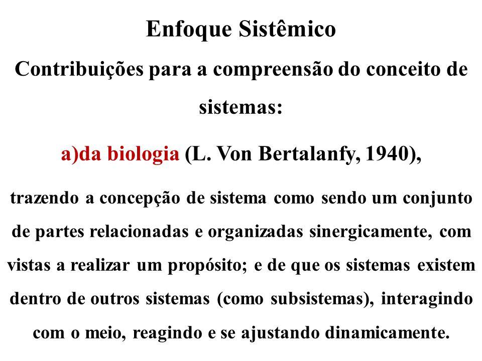 Enfoque Sistêmico Contribuições para a compreensão do conceito de sistemas: da biologia (L. Von Bertalanfy, 1940),