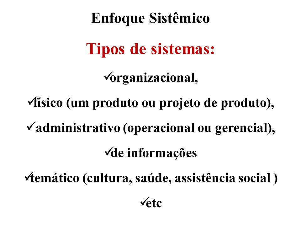 Tipos de sistemas: Enfoque Sistêmico organizacional,