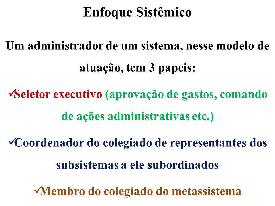 Enfoque Sistêmico Um administrador de um sistema, nesse modelo de atuação, tem 3 papeis: