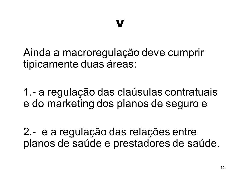 V Ainda a macroregulação deve cumprir tipicamente duas áreas: 1.- a regulação das claúsulas contratuais e do marketing dos planos de seguro e.