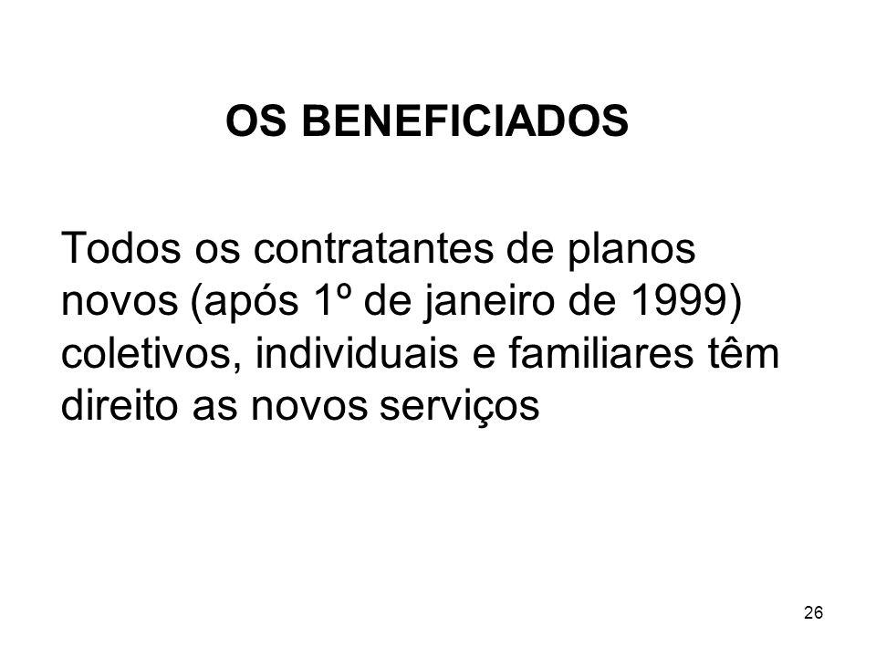 OS BENEFICIADOS Todos os contratantes de planos novos (após 1º de janeiro de 1999) coletivos, individuais e familiares têm direito as novos serviços.