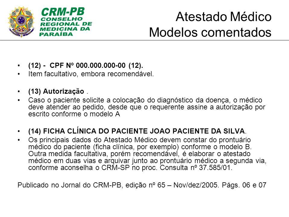 Atestado Médico Modelos comentados
