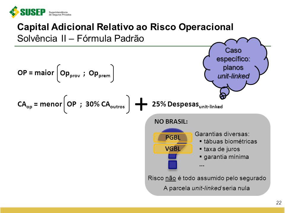 Capital Adicional Relativo ao Risco Operacional Solvência II – Fórmula Padrão