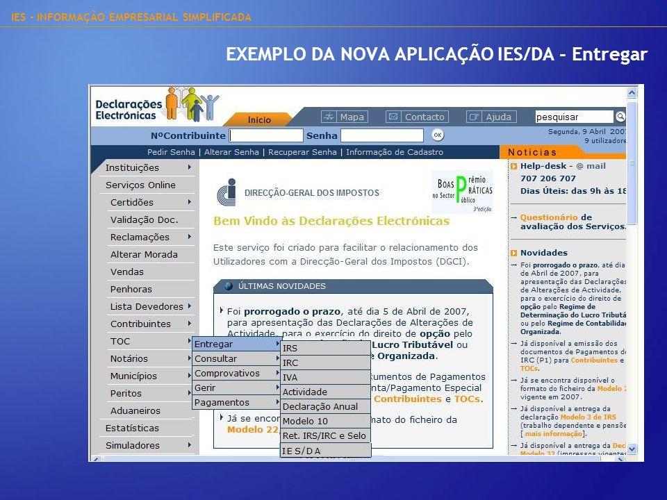 EXEMPLO DA NOVA APLICAÇÃO IES/DA - Entregar