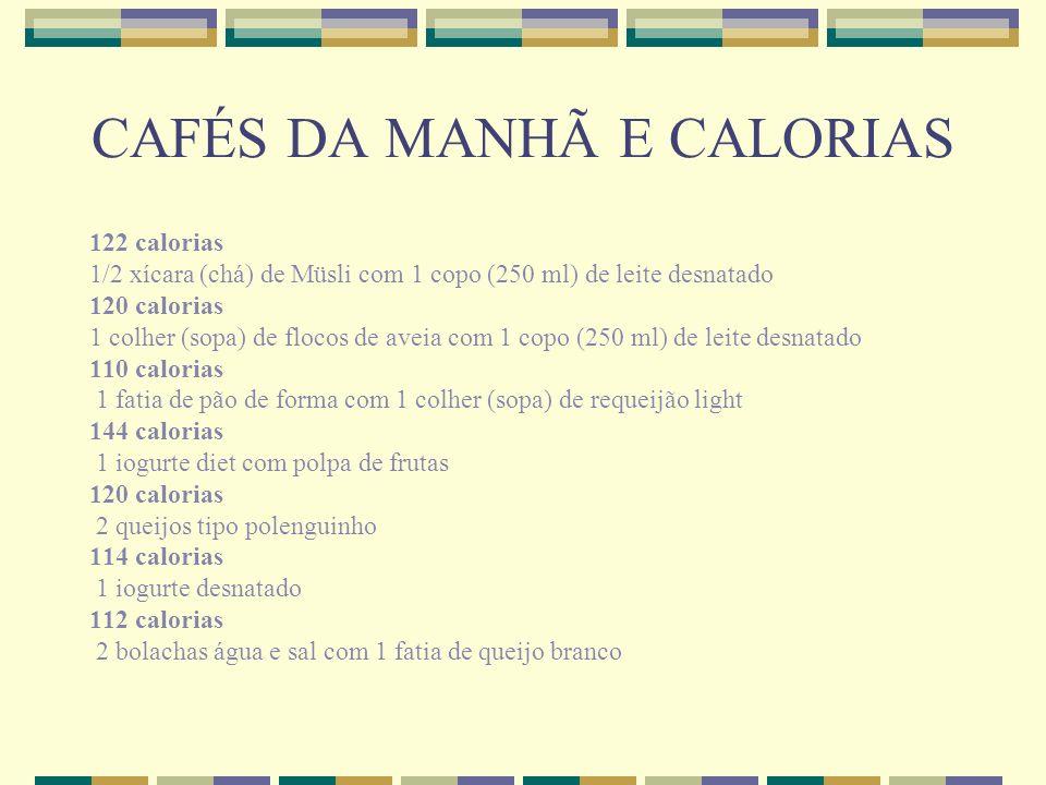 CAFÉS DA MANHÃ E CALORIAS