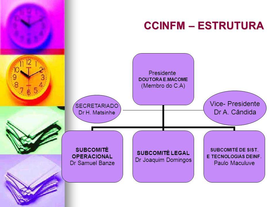 CCINFM – ESTRUTURA Vice- Presidente Dr A. Cândida SECRETARIADO