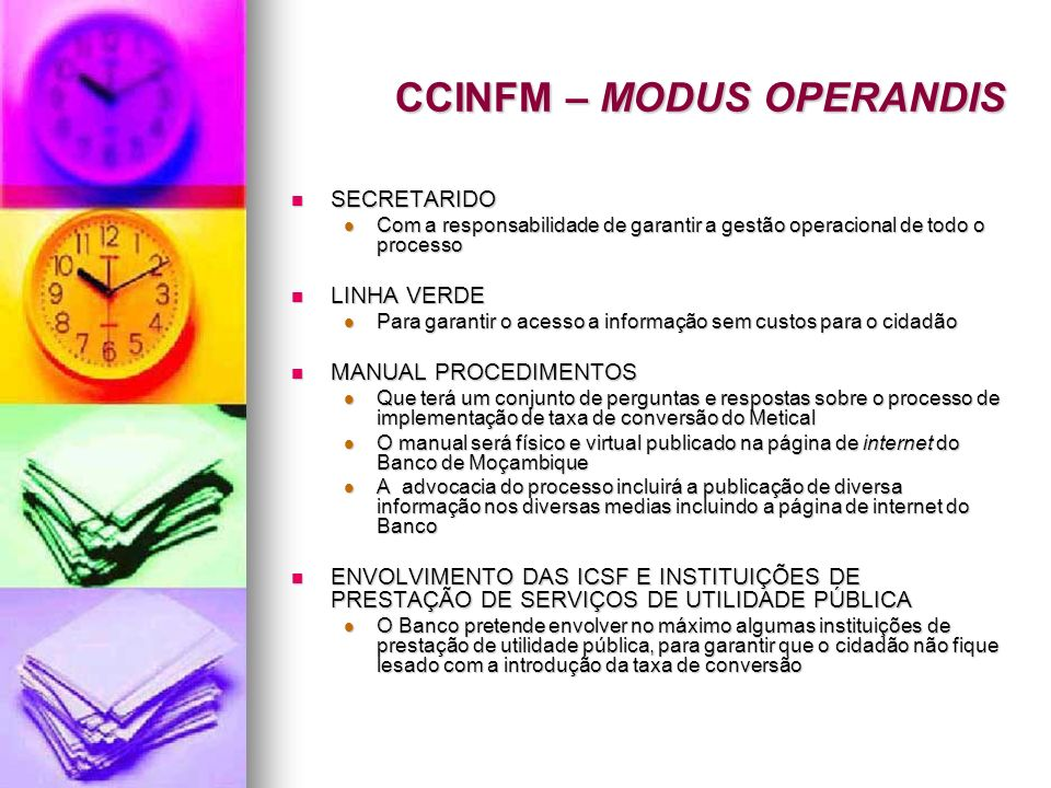 CCINFM – MODUS OPERANDIS