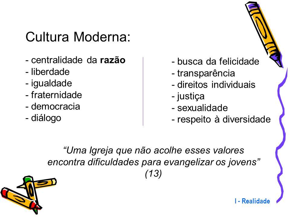 Cultura Moderna: - busca da felicidade - centralidade da razão