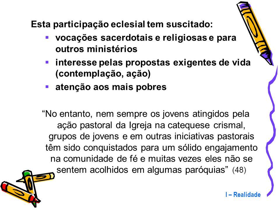 Esta participação eclesial tem suscitado: